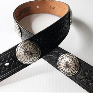 Justin Black Leather Concho Western Belt 30